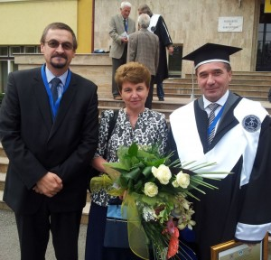 Radu Sestras, Mrs Vintu and Rector Vasile Vintu, 26 Sept 2013 UASVM Cluj, Doctor Honoris Causa ceremony